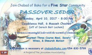 Chabad of Baka: Community Passover Seder!