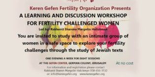 Fertility Chavruta Workshop – Gefen Mind-Body Fertility Organization, Dr Karen Friedman
